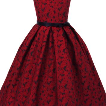 Red Floral Jacquard Design on Navy Blue Sleeveless Dress w Ribbon Sash (Girls Sizes 2T - 12)