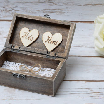 Mr Mrs Ring Box Rustic Ring Bearer Ring Holder