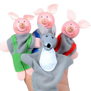 4PCS Three Little Pigs And Wolf Finger Puppets toys Hand Puppets Gifts Baby girls boys Finger Puppet toys for children