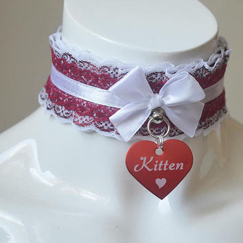 Ddlg collar - Red kitten -  kitten pet play kittenplay petplay daddy kink adult sexy romantic choker with white lace and tag - nekollars