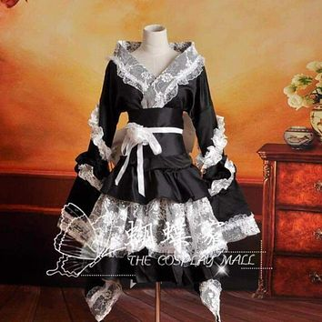 Japanese Maid Costume Anime Halloween Cosplay Sexy Kimono Lolita Dress Outfit Women Long Sleeve Kawaii Sweet Lolita Maid Dress Macchar Cosplay Catalogue