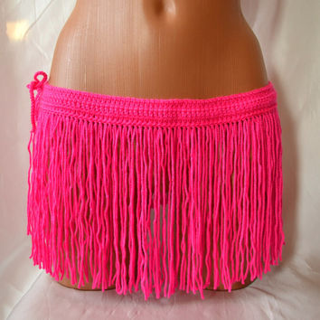 CROCHET FRINGES SKIRT Mini Skirt Belt Summer Festival Crochet Neon Pink Hippie Belt Crochet Belt Hawaii Skirt Coachella Dance Fringe Belt