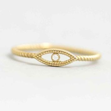 Evil Eye Ring, Eye Gold Ring, Evil Eye Gold Ring, 14K Gold Ring, Ring for Women, Diamond Evil Eye, Stacking Gold Ring, Solid Gold Ring, 0264