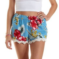 Crochet-Trim Tropical Print Shorts