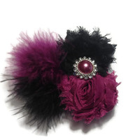 Wine and black feather hair bow - holiday hair bows for little girls and teens - Christmas headbands