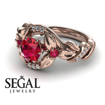Engagement ring 14K Red Gold Flowers Vintage Art Deco Ring Ruby With White diamond - Isabelle Engagement Ring