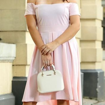 Pink Off Shoulder Pleated High-Low Tutu Plues Size Homecoming Party Elegant Midi Dress