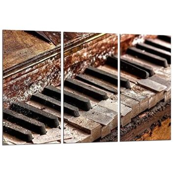 3 Panel Music Old Piano Keys Wall Art Canvas Panel Print Picture