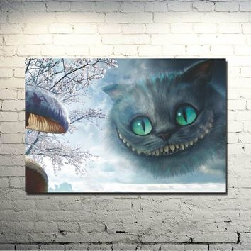 Alice in Wonderland Movie Art Silk Fabric Poster Print 13x20 32x48 inches Cheshire Cat Wall Pictures For Living Room Decor 029