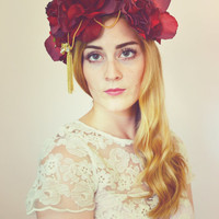 Red Rose and Gold Hair Crown, Rose Headband, Boho Floral Headband, Rustic Garland, Summer Wedding, Ivory Flower Crown