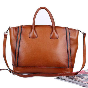 Retro Brown Leather Tote BagIpadMacBookBag di fashionshop1 su Etsy