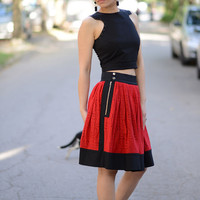 Sexy Skirt, Red Skirt, Short Skirt, Skater Skirt, Lace Skirt, Red Midi Skirt, Summer Skirt, Party Skirt, Circle Skirt, Draped Skirt