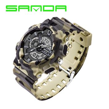 2016 New Shock Men's Luxury Analog Quartz Digital Watch Men G Style Waterproof Sports Military Watches Brand SANDA Fashion Watch
