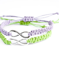 Infinity Friendship Bracelets Lavender and Lime Green