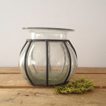 Blown Glass Vase with Metal Frame - Vintage - Rustic - Shabby Decor - Nautical