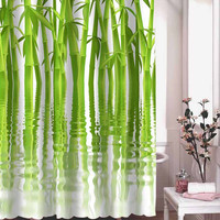 water Green Bamboo shower curtain adorabel batheroom hane made