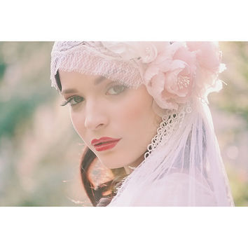 Pastel Blush Juliet Bridal Cap Chantilly by EricaElizabethDesign