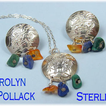 Carolyn Pollack ~ RARE End of The Trail ~ Sterling Silver Indian on Horse Pendant & Earrings Set with Gemstones - FREE SHIPPING