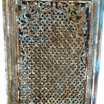 Antique Wall Panel Frame Hand Carved Wood Clic