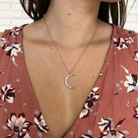 Diamond Crescent Moon In Rose Gold Necklace