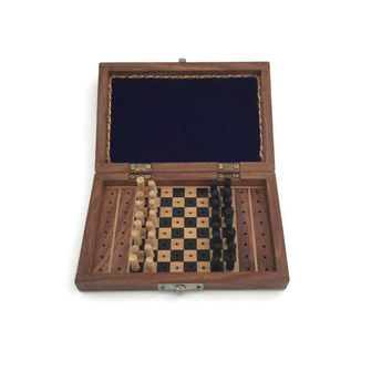Wooden Chess Set, Vintage Chess Set, Peg Chess Set, Travel Chess Set