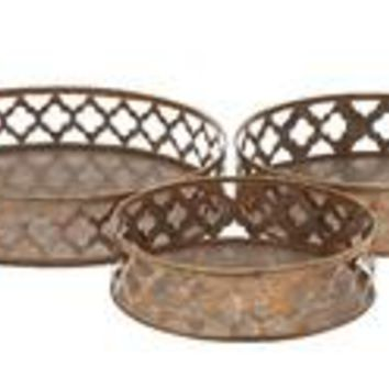 Rustic And Simple Metal Tray Set Of 3