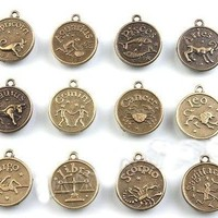 12 Zodiac Astrology Charms Libra Aries Aquarius Etc