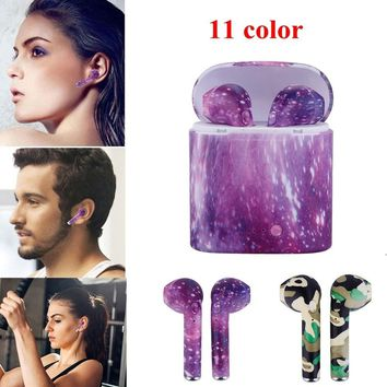 Painted Wireless Earbuds Mini Bluetooth Stereo Headset With Charge Box Earphone For iPhone X 7 Plus Android Phones