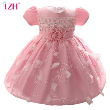 LZH Baby Girls Dress For Girl Princess 1 Year Birthday Dress Kids Baby Girls Baptism Gowns Infant Party Dresses Newborn Clothes