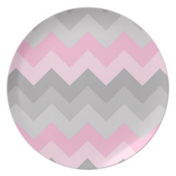 Pink Grey Gray Ombre Chevron Kitchen Dinner Party Plates