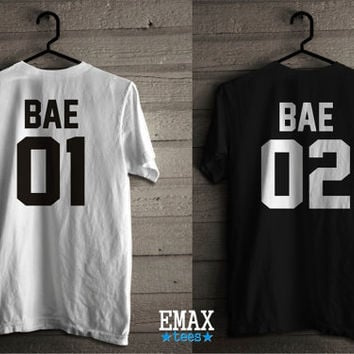 Bae 01 Bae 02 Couple Shirts, Matching Tees Unisex 100% Cotton, Bae Couples Tshirts