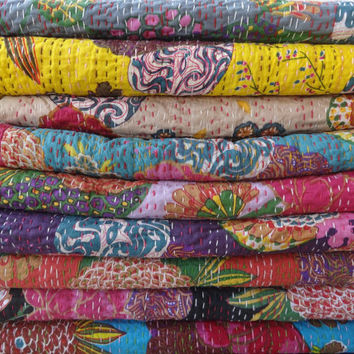 Set of 10 Handmade Tropical Kantha Quilt, Wholesale Tropical Kantha Bedspread,Twin Size Tropical Kantha Bedding, Reversible Kantha Work