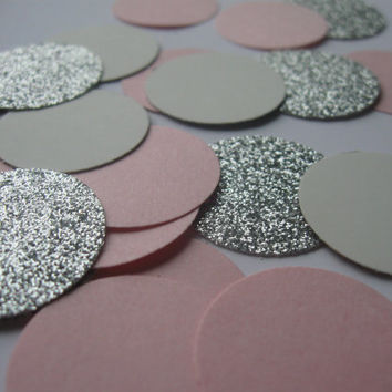 Silver Blush and Cream Wedding Confetti Silver Confetti Pink Confetti Rose Confetti Rose Wedding Silver Wedding Decor Glitter Confetti Party