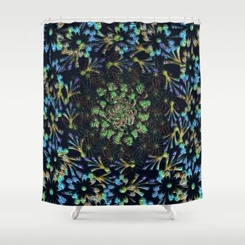 Black Russian Pattern Shower Curtain by Deluxephotos