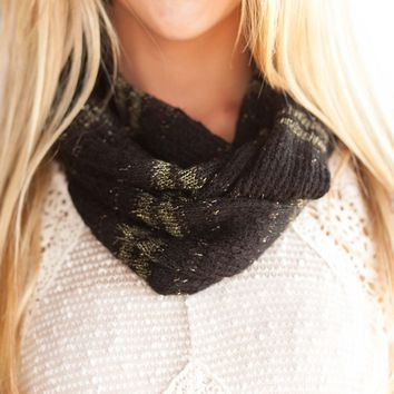 Golden Rule Black and Gold Infinity Scarf