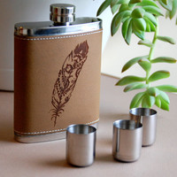 Laser Etched Leather Flask FEATHER Design by AFlutteredCollection