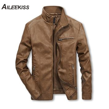 2018 Men Solid Casual Moto Biker Leather Jackets Man Bomber Jacket Male Outwear Coat Autumn Pilot Jacket Mans Cool Jacket XT451