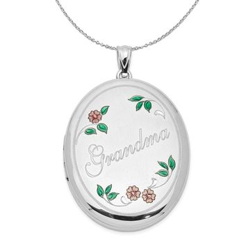 Sterling Silver and Enamel 34mm Grandma Oval Locket Necklace