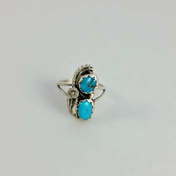 Turquoise Ring - Silver and Turquoise Ring - Ring Size 5.5 - Native American Ring - Size 5 1/2 Ring - Navajo Sterling Ring