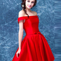 Red Off Shoulder Bow Waist Homecoming Bandeau Dress