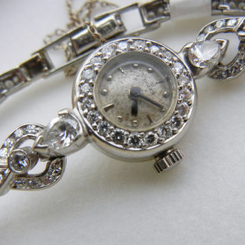 Vintage ROLEX Diamond Watch / set in Platinum / wedding gift / Diamond anniversary / Unique art deco watch / luxury / engraved / 2 carats