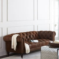 Old Hickory Tannery Morgan Rustic-Suede Tufted Sofa