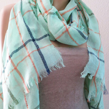 ON SALE - Turquoise Plaid Scarf in Orange Khaki Blue Long Cotton Scarf Shawl