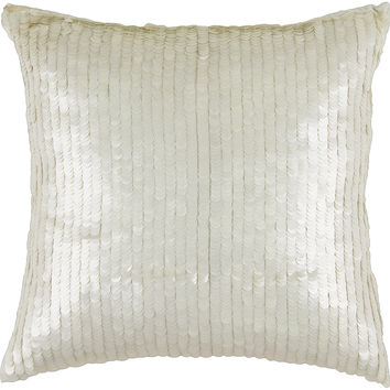"Sequins White Pillow Cover (18"" x 18"")"