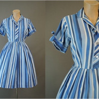 early 60s Striped Shirtwaist Day Dress, fits 38 bust, Vintage 1960s Full Skirt Cotton Dress, some issues