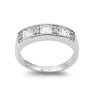 925 Sterling Silver CZ Three Stones Princess Cut Ring 5MM