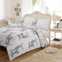 Wild Stag Grey Duvet Quilt Cover Pillow Case Christmas Bedding set Single Double King