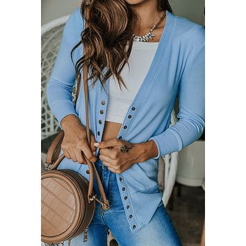 Light Blue Cardigan with 3/4 Sleeves