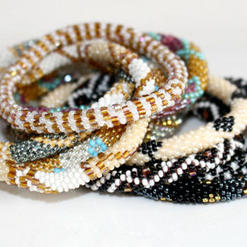 Wholesale Nepal Roll On Bracelets Set of 10 in Neutral Hues, Glass Seed Bead Bracelets, Gypsy Beadwork Bangles, Ethnic Bohemian Jewelry