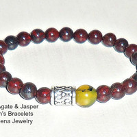 "Men's Bracelet Fire Agate & Jasper  ""Suyay"" (Quechua For Hope) Machu Picchu Inspired"